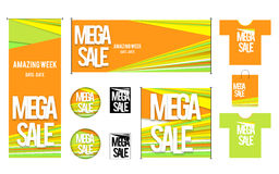Set of template for Mega sales design Royalty Free Stock Photos