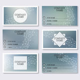 Set template of modern business visiting cards. Abstract background with molecule structure DNA and neurons.. Set template of modern business visiting cards Royalty Free Stock Photo