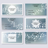 Set template of modern business visiting cards. Abstract background with molecule structure DNA and neurons. Medicine. Science and technology. Vector Stock Photography