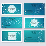 Set template of modern business visiting cards. Abstract background with molecule structure DNA and neurons. Medicine. Science and technology. Vector Royalty Free Stock Photography