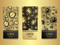 Set Template for package or flyer or label from Luxury background made by foil abstract ornament waves jewel in black gold for co. Set Template for package or vector illustration
