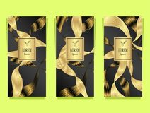 Set Template for package from Luxury background made by foil in black gold brown Vector Illustration