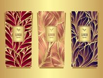 Set Template for package or flyer from Luxury background made by foil leaves in gold red beige violet for cosmetic or perfume or f. Set Template for package or Stock Photos