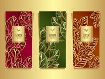 Set Template for package from Luxury background made by foil leaves in colorful. Set Template for package or flyer from Luxury background made by foil leaves in royalty free illustration