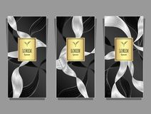 Set Template for package from Luxury background made by foil in black gold silver Vector Illustration