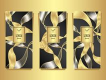 Set Template for package from Luxury background made by foil in black gold silver Royalty Free Illustration