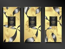 Set Template for package from Luxury background made by foil in black gold silver Stock Illustration