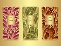 Set Template for package from Luxury background made by foil leaves in colorful. Set Template for package or flyer from Luxury background made by foil leaves in Royalty Free Stock Photography