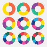 Set template pie colorful chart. Pie chart market isolated slice perspective business blank  sign Royalty Free Stock Images