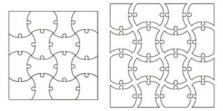 Set the template Puzzle Pieces, vector set for creating complex jigsaw puzzle pieces, image applicable to several concepts. Set the template of Puzzle Pieces vector illustration