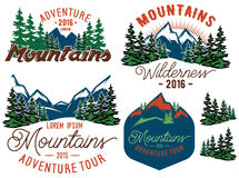 Set template in retro style with mountains spruces forest Stock Image