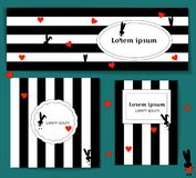 Set Template with silhouette rabbit and red hearts. black and white striped background. valentines day. for media post stock illustration