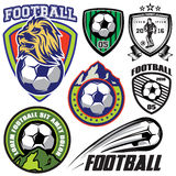 Set  template sports logos and design elements on theme football Royalty Free Stock Photography