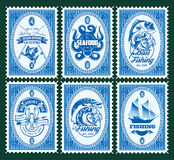Set template of stamps with elements fishing, seafood Royalty Free Stock Photos