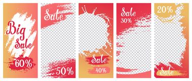 Set of template stories for big sale. Ink and watercolor vector illustration