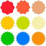 Set template sunburst, shapes badges vector starburst promo  burst, for design sticker promo burst Royalty Free Stock Images