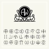 Set  template  to create monograms of two letters Royalty Free Stock Image