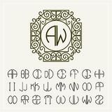Set  template  to create monograms of two letters Stock Photo