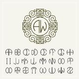 Set  template  to create monograms of two letters Stock Photos