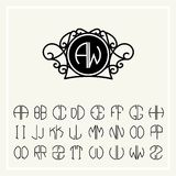 Set  template  to create monograms of two letters Royalty Free Stock Images