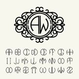 Set  template to create monograms of two letters Royalty Free Stock Photography