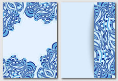 Set of template with waves element for design invitations and greeting cards. Abstract doodle in blue. Indian motif painting. Royalty Free Stock Images