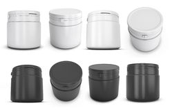 Set of template white and black  plastic can for products Stock Images