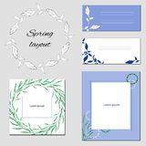 Set of templates with abstract elements with flowers in light green and blue tones. vector illustration
