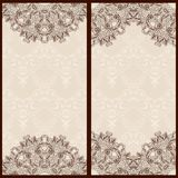 Set of templates for banners or vintage greeting card with ornaments in oriental style. Royalty Free Stock Photo