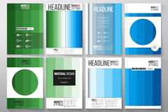 Set of templates for brochure, flyer or booklet. Abstract colorful business background, blue and green colors, modern. Set of business templates for brochure Royalty Free Stock Photo
