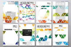 Set of templates for brochure, flyer or booklet. Abstract colorful business background, modern stylish hexagonal and Stock Photos