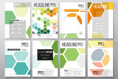 Set of templates for brochure, flyer or booklet. Abstract colorful business background, modern stylish hexagonal vector Stock Photos