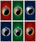 Set templates for business cards with Heraldic elements and wreaths Royalty Free Stock Photography