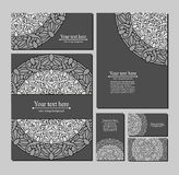 Set templates business cards and invitations with circular patterns Stock Images