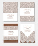 Set templates business cards and invitations with circular patterns Royalty Free Stock Photo