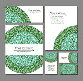 Set templates business cards and invitations with circular patterns Royalty Free Stock Image