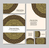 Set templates business cards and invitations with circular patterns of mandalas Stock Photography