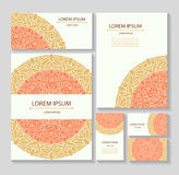 Set templates business cards and invitations with circular patterns of mandalas Royalty Free Stock Image