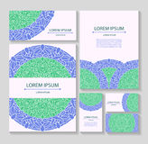 Set templates business cards and invitations with circular patterns of mandalas Royalty Free Stock Photos