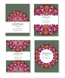 Set templates business cards and invitations with circular patterns of mandalas. Corporate style for your documents. Vector illustration Royalty Free Stock Photos