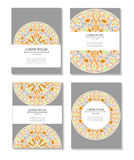 Set templates business cards and invitations with circular patterns of mandalas Stock Image