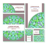 Set templates business cards and invitations with circular patterns of mandalas Stock Images
