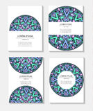 Set templates business cards and invitations with circular patterns of mandalas. Corporate style for your documents. Vector illustration Royalty Free Stock Photo