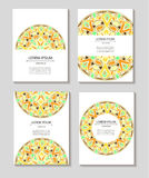 Set templates business cards and invitations with circular patterns of mandalas. Corporate style for your documents. Vector illustration royalty free illustration