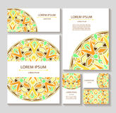 Set templates business cards and invitations with circular patterns of mandalas. Corporate style for your documents. Vector illustration Stock Images