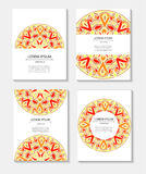 Set templates business cards and invitations with circular patterns of mandalas Royalty Free Stock Photography