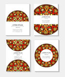 Set templates business cards and invitations with circular patterns of mandalas Royalty Free Stock Images