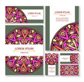 Set templates business cards and invitations with circular patterns of mandalas. Corporate style for your documents. Vector illustration Royalty Free Stock Image
