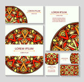 Set templates business cards and invitations with circular patterns of mandalas. Corporate style for your documents. Vector illustration Stock Photo