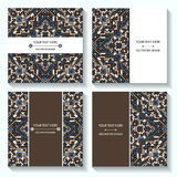 Set templates business cards and invitations with ethnic patterns. Corporate style for your document Stock Photo